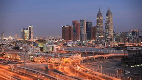 Dubai Media City at night stock video footage