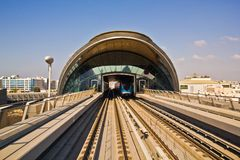 Dubai metro. Train arriving at the station royalty free stock image