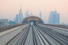 Dubai Metro. DUBAI, UNITED ARAB EMIRATES - March 21: View of Dubai Metro, on March 21, 2011. Metro Trains operate in fully automatic mode without any drivers stock photo