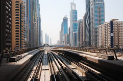 Dubai metro. Automatic metro train without human driver, Dubai - UAE stock photos