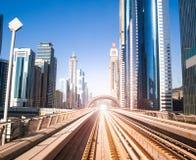Dubai Metro. Evening view of the city stock images