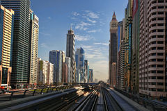 Dubai with  Metro against skyscrapers, UAE Royalty Free Stock Images
