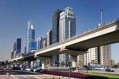 Dubai Metro  against skyscrapers, United Arab Emirates Stock Photo