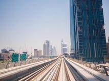 Dubai Metro as world`s longest fully automated metro network 75 km.  royalty free stock photo