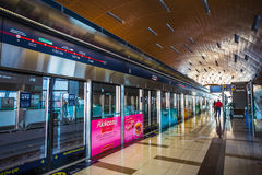 Dubai Metro as world's longest fully automated metro network (75. DUBAI, UAE - NOVEMBER 11: Dubai Metro as world's longest fully automated metro network (75 km) Royalty Free Stock Images