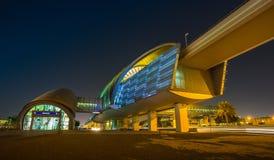 Dubai Metro as world's longest fully automated metro network (75. DUBAI, UAE - NOVEMBER 2: Dubai Metro as world's longest fully automated metro network (75 km) royalty free stock images