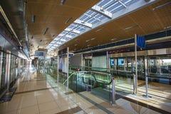 Dubai Metro as world's longest fully automated metro network (75. DUBAI, UAE - NOVEMBER 11: Dubai Metro as world's longest fully automated metro network (75 km) royalty free stock photo