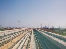 Dubai Metro as world`s longest fully automated metro network 75 km. Dubai, UAE - May 15, 2018: Dubai Metro as world`s longest fully automated metro network 75 km royalty free stock images