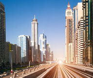 Dubai Metro. Beautiful view of the city. UAE stock photos