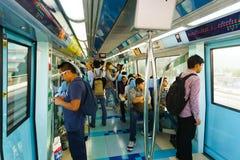 Dubai metro car interior. DUBAI - OCT 16: the Dubai metro car interior on October 16, 2014. The Dubai Metro is a driverless, fully automated metro rail network royalty free stock photography