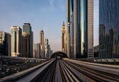 Dubai metro. View in the evening royalty free stock image