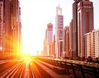 Dubai Metro. Evening view of the city. UAE stock images