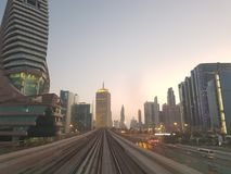 Metro in Dubai so nice. The Dubai Metro is operated by Serco under contract to the Dubai Roads Royalty Free Stock Image