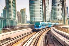 Dubai metro railway. In a summer day in Dubai, United Arab Emirates stock photo