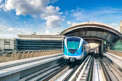 Dubai metro railway. In a summer day in Dubai, United Arab Emirates royalty free stock images