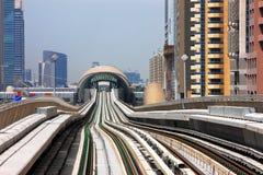 The Dubai Metro runs sum 40 km Royalty Free Stock Images