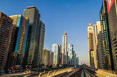 Dubai Metro at Sheik Zayed. A view of Sheik Zayed road from Dubai Metro stock photo