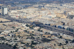 Dubai Metro with station aerial view photography Royalty Free Stock Image