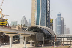 Dubai Metro Station with Cityscape and Street with Cars at Sheik Zayed Road, Dubai stock images