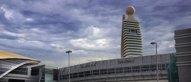 Dubai Metro Station & Etisalat Tower Royalty Free Stock Photography