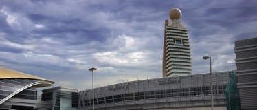 Dubai Metro Station & Etisalat Tower. Dubai Metro Jafliya station with the foot bridge and the Etisalat tower just behind the station. The image contains royalty free stock photography