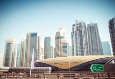 Dubai metro station. Evening view of the city. UAE royalty free stock image