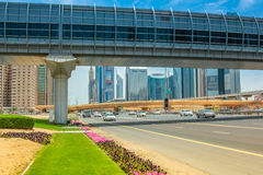 Dubai Metro station and footbridge Stock Photography