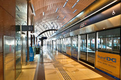 Dubai Metro Terminal. DUBAI - OCTOBER 22: Dubai Metro Terminal on October 22, 2012 in Dubai, United Arab Emirates. The Metro is one of most effective way to stock image