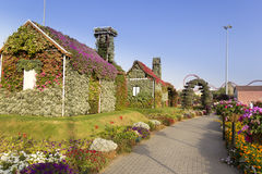Dubai Miracle Garden House Covered with Different Flowers. And Leaves Royalty Free Stock Photos