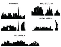 Dubai moscow sydney New York vektor illustrationer
