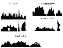 Dubai moscow sydney new york. Buildings Stock Photo