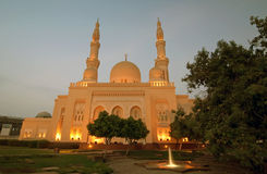Dubai Mosque 4. A Dubai Mosque at night Stock Photo