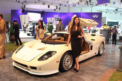 Dubai Motor Show NOVEMBER-14-2011 display. DUBAI NOVEMBER-14:Dubai Motor Show 2011 at Dubai Int'l Convention and Exhibition Centre display Royalty Free Stock Image