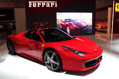Dubai Motor Show NOVEMBER-14-2011 Ferrari display. DUBAI NOVEMBER-14:Dubai Motor Show 2011 at Dubai Int'l Convention and Exhibition Centre Ferrari display Royalty Free Stock Photography