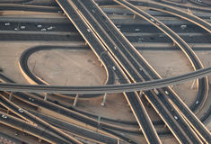 Dubai motorways. View from above Royalty Free Stock Image