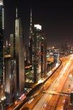 Dubai nachts Stockfotografie