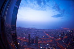 Dubai nattskylin Royaltyfri Fotografi