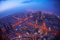 Dubai nattskylin Arkivbild