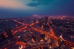 Dubai nattskylin Arkivbilder