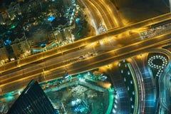 Dubai nattskylin Royaltyfri Foto