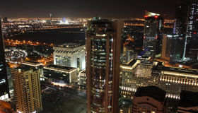 Dubai at night. Dubai financial and business district at night Royalty Free Stock Photo