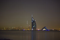 Dubai at night. View of Burj Al Arab, Jumeira beach hotel and Burj Khalifa at night Stock Photography