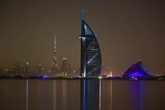 Dubai at night. View of Burj Al Arab, Jumeira beach hotel and Burj Khalifa at night Stock Images