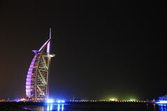 Dubai At Night. Emirates Towers at night in Dubai City Royalty Free Stock Photo