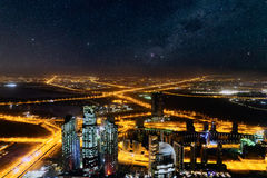 Dubai night aerial  cityscape Royalty Free Stock Images