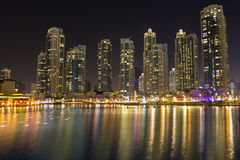 Dubai night city skyline with modern skycrapers, UAE Royalty Free Stock Image