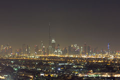 Dubai night city skyline with modern skycrapers, UAE Stock Images