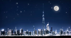 Dubai night cityscape Stock Images