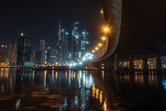 Dubai at night. Cityscape of dubai captured from business bay in july 2017 Stock Photography