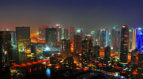 Dubai Night Scene 3. A landscape view of residential towers against Dubai Marina taken at night royalty free stock image